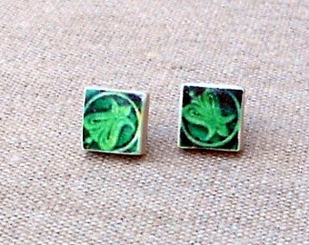 Portugal Antique Azulejo Tile Replica Post Stud Earrings, GREEN from OVAR  (see photo of actual Facade)  WATERPROOF