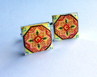 Portugal Antique Azulejo Tile Replica CUFFLINKS from ESMORIZ  Pink Portugal - (see photo of actual Abandoned Home)