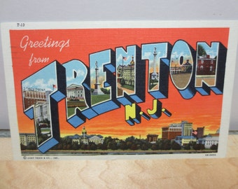 Linen Postcard Greetings From Trenton Nj 1950s Used