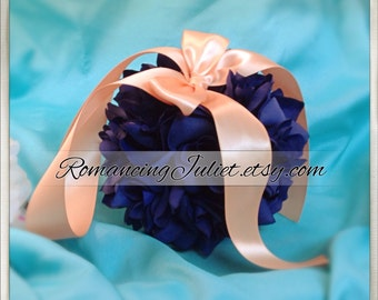 Lovely  7 Inch Silk Rose Pomander.. You Choose The Colors...shown in navy blue/coral peach