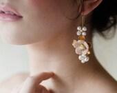 Vintage inspired handmade drop flower earrings