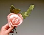 felt rose with felt greenery for felt bouquet or floral arrangement, eco friendly // a la carte for custom floral arrangement