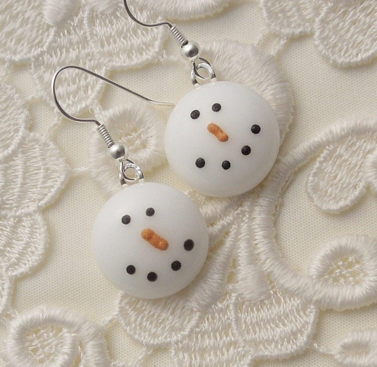Snowman earrings fused glass christmas ornament