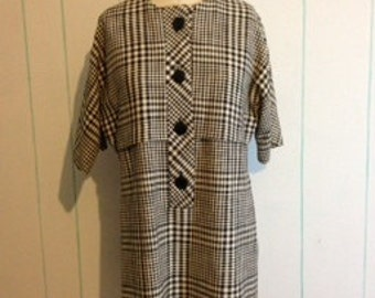 Vintage 1960's  Black and White Dress size 10