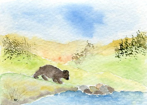 ACEO Orig Watercolor Bear Country