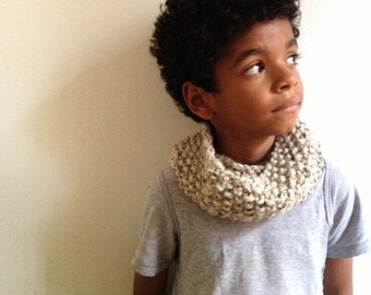 Oatmeal Seed Stitch Knitted Children's Cowl