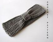 INSTANT DOWNLOAD, Crochet Pattern, Gray Turban Knot, Crochet Headband, Grey Ear warmer, Bow Headwrap