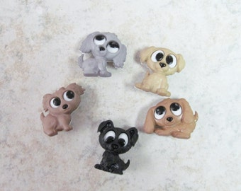 Playful Puppies  Buttons  Set of 5
