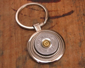 Shotgun Casing Jewelry - Bullet Jewelry - Gift for Man - Mens Accessories - Silver 12 Gauge Shotshell Key Ring  - Wedding Party Gifts