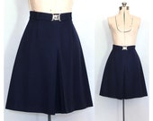 Vintage 70s Navy Wool Skirt