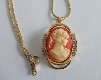 VINTAGE rhinestone CAMEO NECKLACE