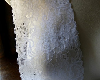 Stretch Lace in WHITE for Lingerie, Headbands, Waistbands STR 5018