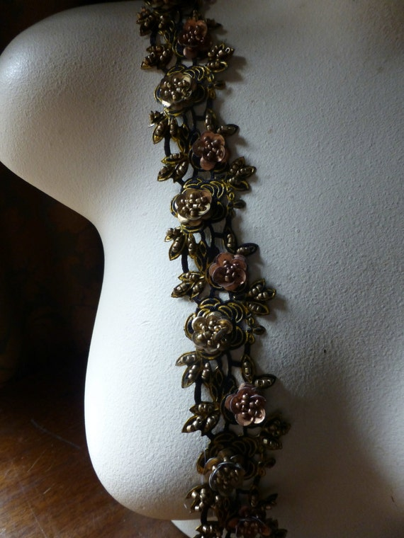 "Trim Beaded 18"" in Black, Copper & Gold for Lyrical Dance, Headbands, Costume or Jewelry Design"