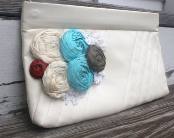 OOAK Retro Cream Clutch With Silk Rosettes And Detachable Strap