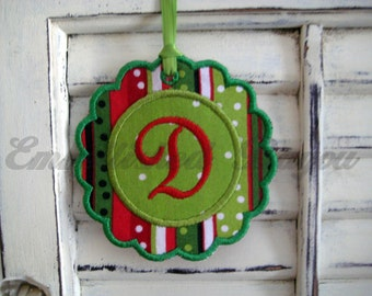 Initial Christmas Ornament or Tag