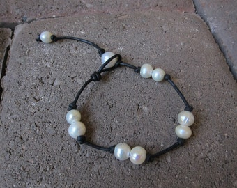 Black Leather Wrap Bracelet with Freshwater Pearls