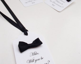 Will you be my Groomsman-Best Man -Bow Tie-Set of 4 tags