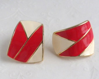 Vintage Red and Ivory Enamel Pierced Earrings - Gold Tone Bold Geometric Design
