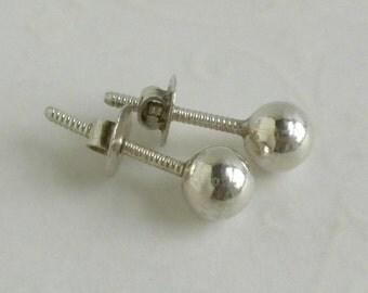 Vintage Silver Ball Stud Earrings - Pierced Threaded Post Earrings