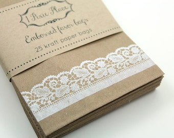Set of 100 White Lace Favor Bags - Weddings, Showers, gift wrap, treat bags - SMALL