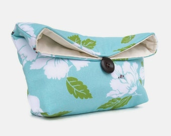Green Ivory and Blue Clutch Purse, Floral Clutch, Spring Wedding Bridal Purse, Blue Bridesmaid Gift, Bridesmaid Clutch, Wedding Accessory