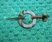 Bone and wood wrap closure, shawl pin, hair slider barrette, hair slider, bone horn wood  nature's gift.