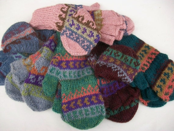 Alpaca glittens. Convertible mittens.  FANCY. 5 colors available. Pink. Purple.Blue.Green.Coral. See pictures.