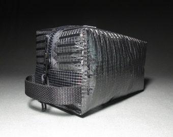 Mens Dopp Kit - Carbon Fiber - Toiletry Kit - Black - Sailcloth - Groomsmen Gift