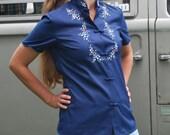 Vintage Asian Style Shirt Blue Blouse