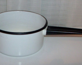 Small Black and White Enamelware Pan