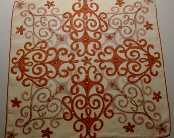 Rust and Peach Handkerchief with Scroll Graphics