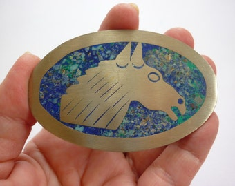 60s 70s Mexican Silver Belt Buckle w Horse Head in Turquoise & Lapis Aggregate TAXCO