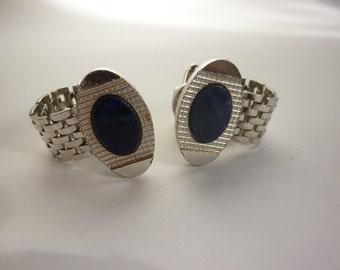 60s / 70s Wrap Around Cuff Links Chrome w Lapis Lazuli DANTE