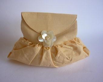 50s Raw Silk Evening Clutch Pouchette MOP Clasp BLUSH
