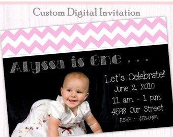 First Birthday Photo Card Invitation - Chevron First Birthday Invitation, custom design for YOU, 1st Birthday Invite, digital design