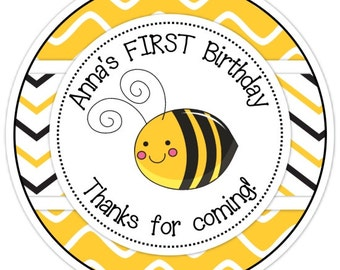 Birthday Bee Stickers, 2.5 inch round, Custom Bee stickers, Personalized Children Stickers, Personalized for YOU