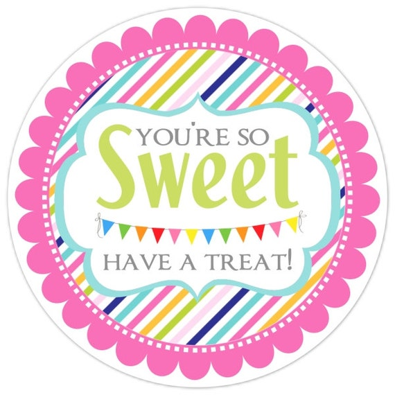 Have A Sweet Treat Tag Birthday Favor Stickers Rainbow Have