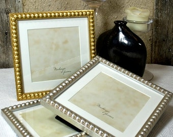 7x7 inch Frame With Mat For a 5x5 Image in Silver or Gold Boules/Weddings/Office Desktop/Instagram Square Photo Frame 7x7 inch/5x5 inch