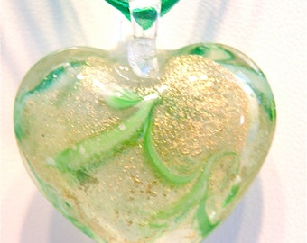 15% OFF SALE --- Green and Gold Puffy Lampwork Heart Pendant and Ribbon Necklace