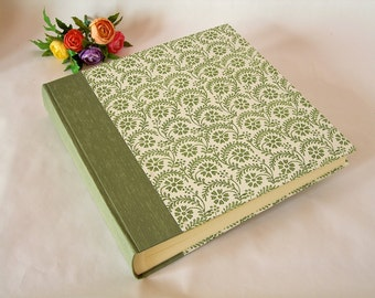 Photo album -  sage  with Italian sage  green flower and fern stencil print - 12x12in 30x30cm - Ready to ship
