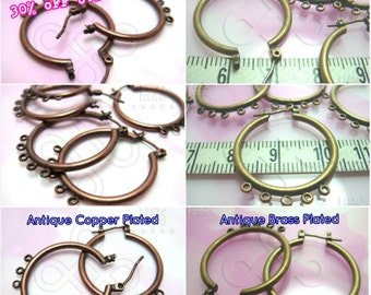 last lot -30% / D405BS / 12Pc / D24mmx5loops - Antique Plated Chandelier / Charms Hoop Earrings with 5 Loops Findings