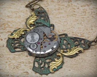 Butterfly Necklace, Steampunk Jewelry, Brass Accents, Clockwork Necklace, Vintage Watch Movement, Patina