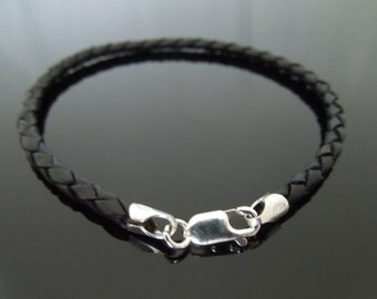 """3mm Black Braided Leather Wristband Bracelet With Sterling Silver Clasp 7"""" 7.5"""" 8"""" 8.5"""" 9"""""""