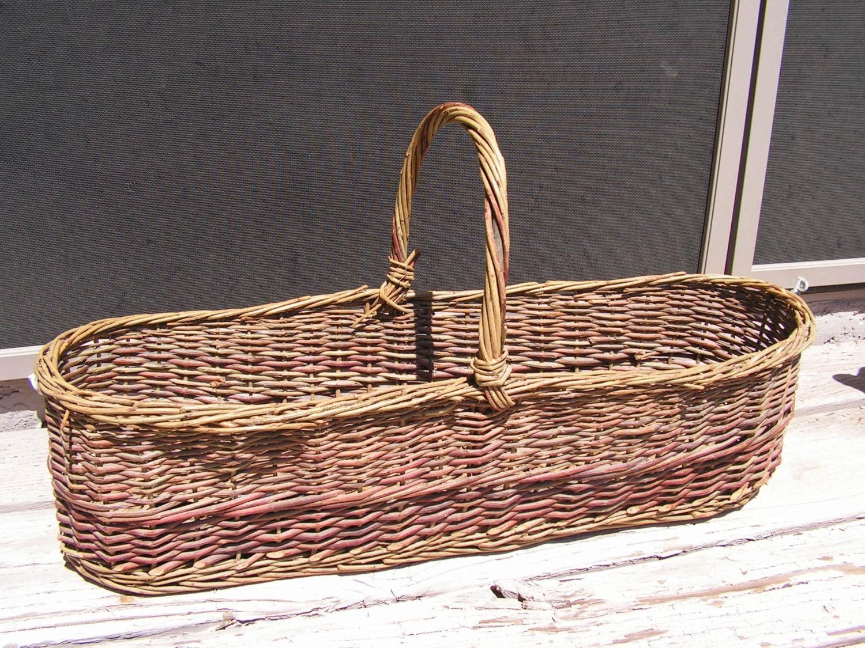 Woven Gathering Basket : Flower gathering basket hand woven primitive by retrosideshow