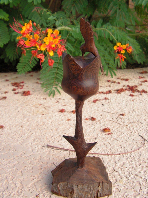Wooden rose and hummingbird wood carving vintage balancing