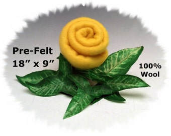 "Pre-Felt  BUTTERCUP YELLOW 18"" x 9"" 100% Merino Wool Fabric Perfect for Needle Felting from Dream Felt"
