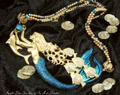 "Mermaid Jewelry ""Spanish Galleon"" Mermaid Necklace with Dolphin in Gold and Blue Mermaid Jewellery"