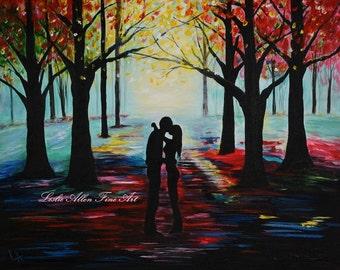 "Couple Painting Couple Art Print Couples LOVE Wall Art Kissing  Couples Painting Print Romance Romantic Umbrella Rainy "" A Romantic Kiss"""