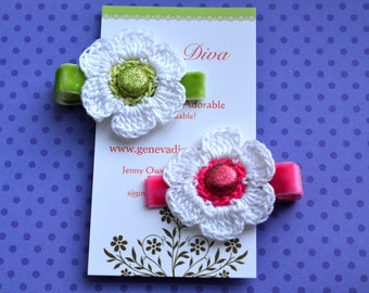 Set of 2 Spring Brights Crochet Flower Hairclips