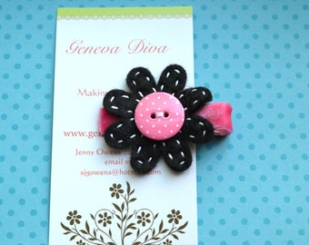 Pink Polka Dot on Black Felt Flower Clip
